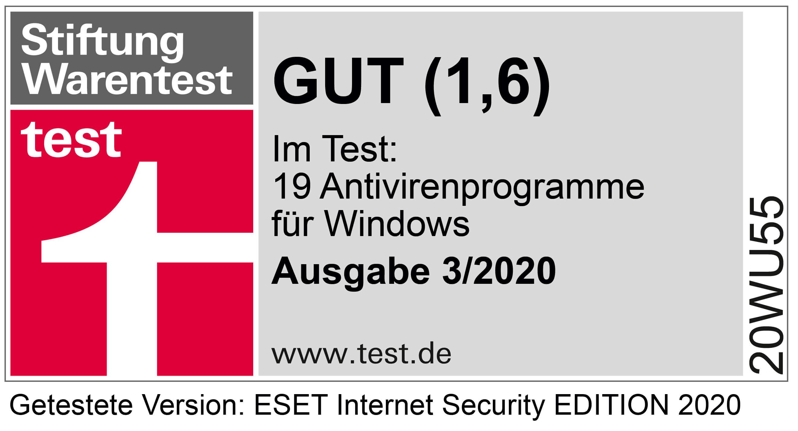 Stiftung Warentest Note 1,6 aus dem Test 19 Antivirenprogramme für Windows, Ausgabe 3 des Jahres 2020