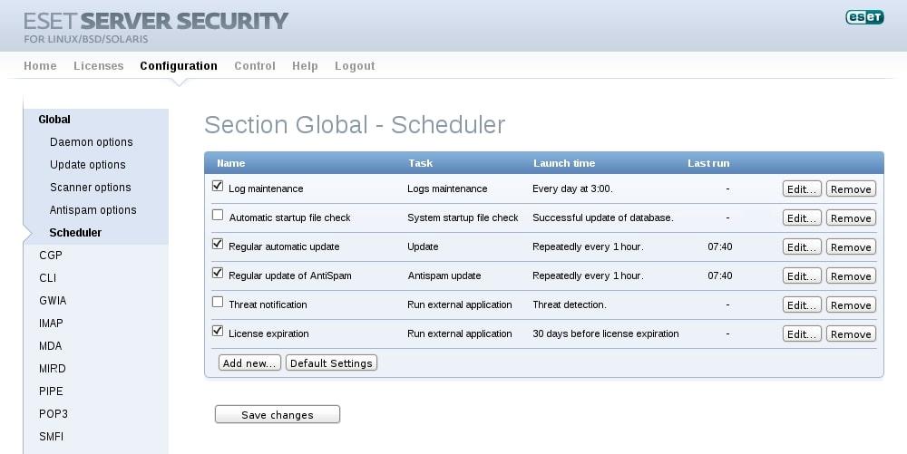 ESET Server Security for Linux/BSD/Solaris - Configuration - Scheduler