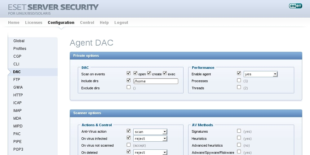 ESET Server Security for Linux/BSD/Solaris - Configuration - Agent DAC