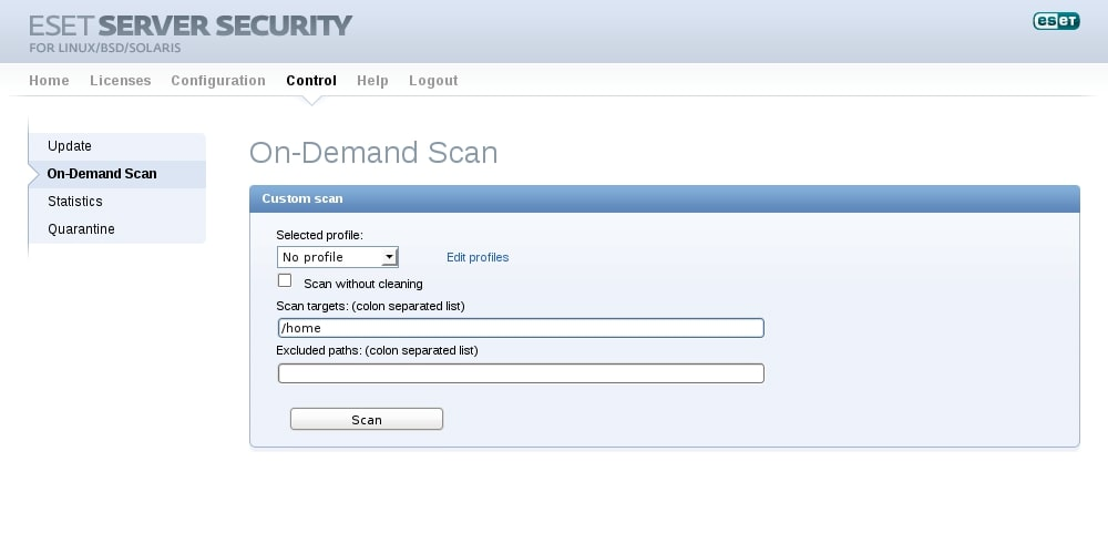 ESET Server Security for Linux/BSD/Solaris - Control - On-Demand Scan