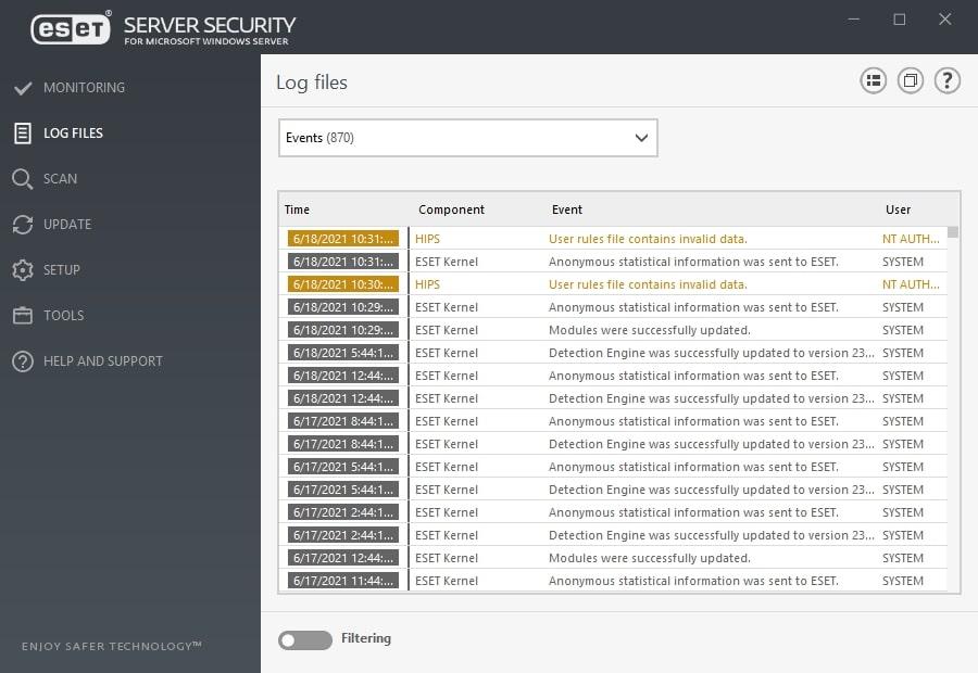 ESET Server Security for Microsoft Windows Server - Log files