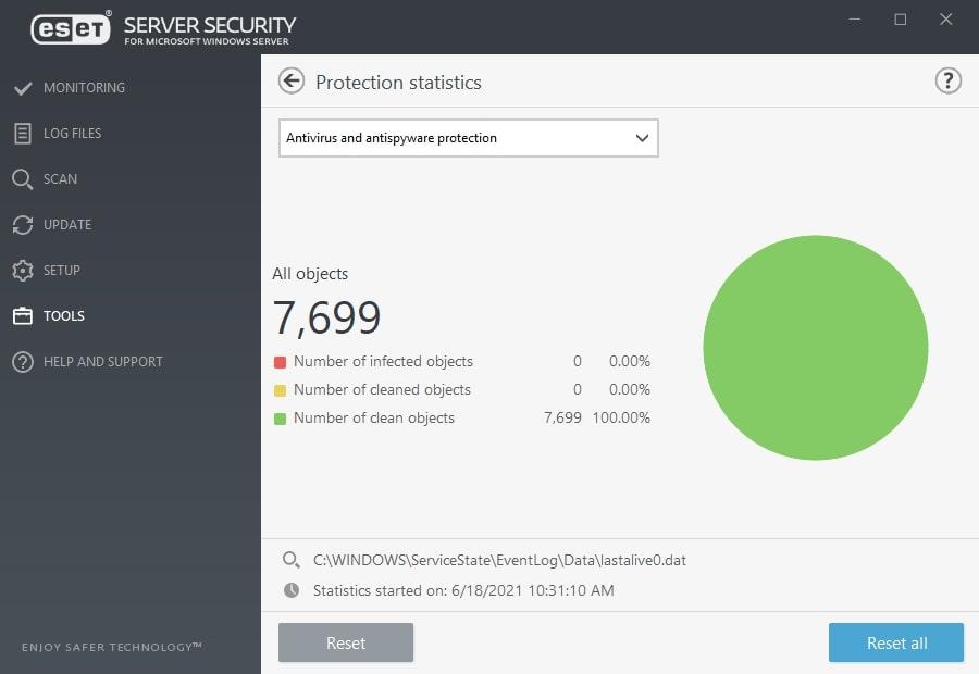 ESET Server Security for Microsoft Windows Server - Tools/Protection statistics