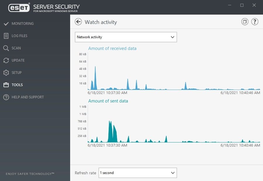 ESET Server Security for Microsoft Windows Server - Tools/Watch activity