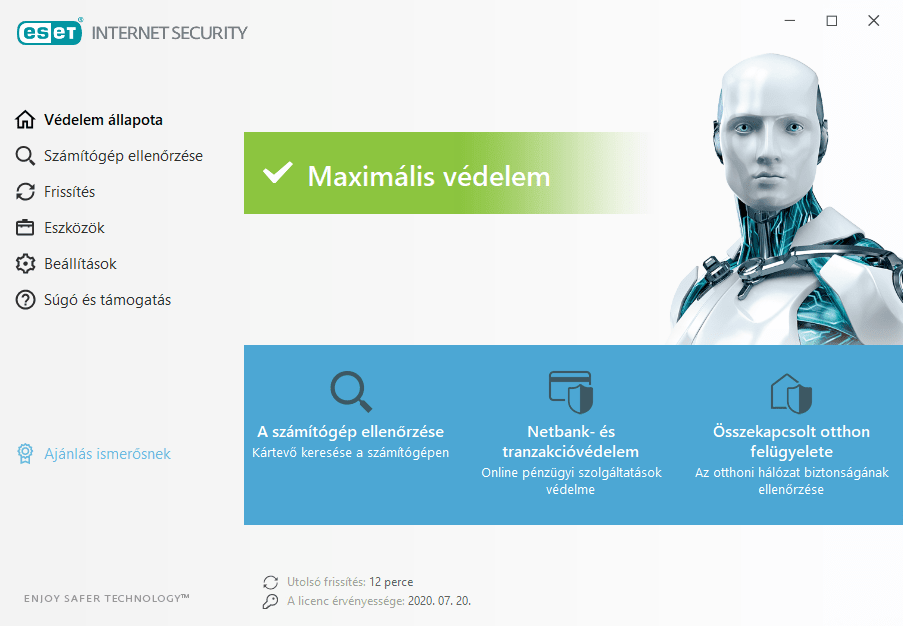 ESET Internet Security főmenü
