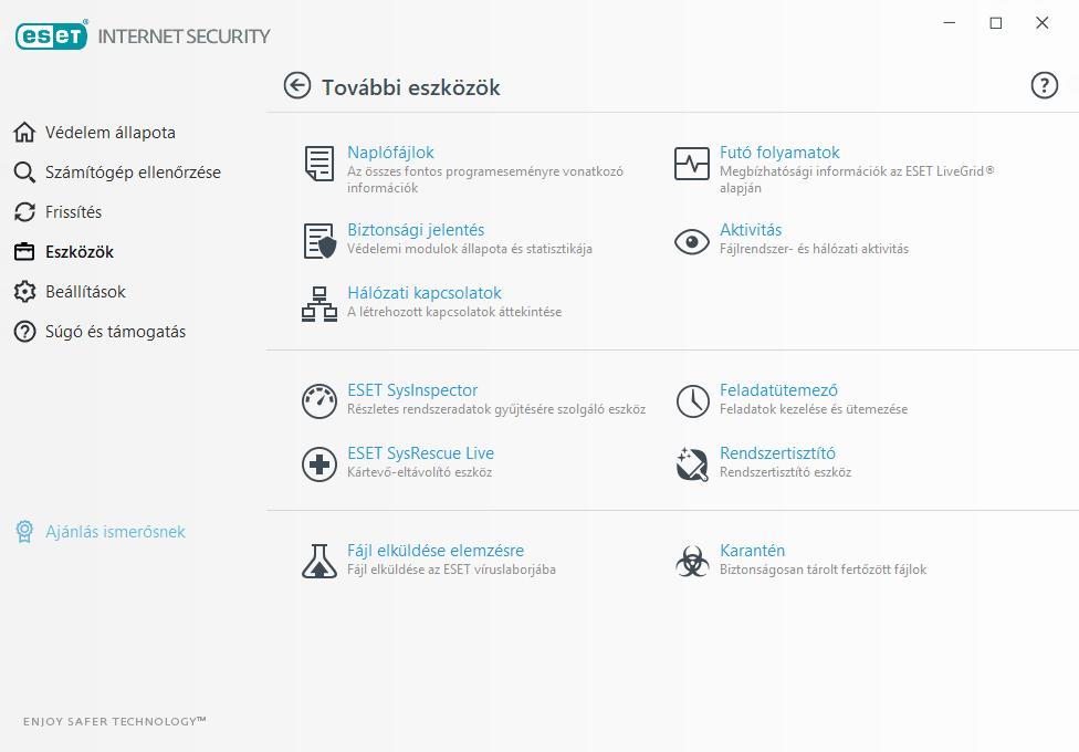 ESET Internet Security - További eszközök