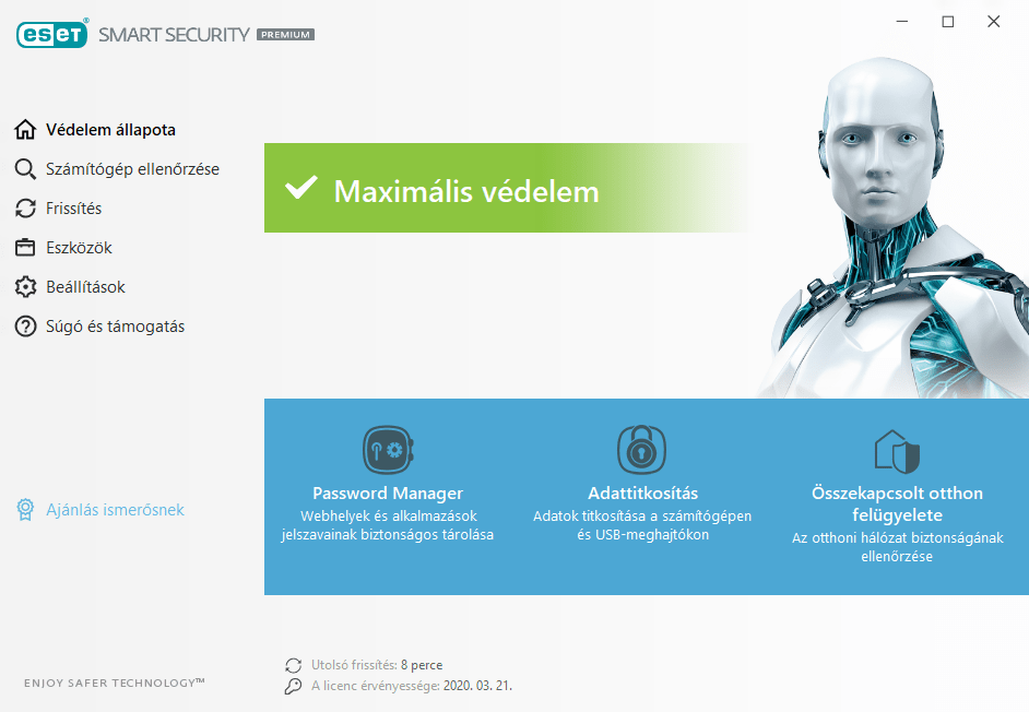 ESET Smart Security Premium főmenü
