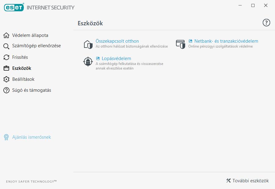 ESET Internet Security - Eszközök menüpont