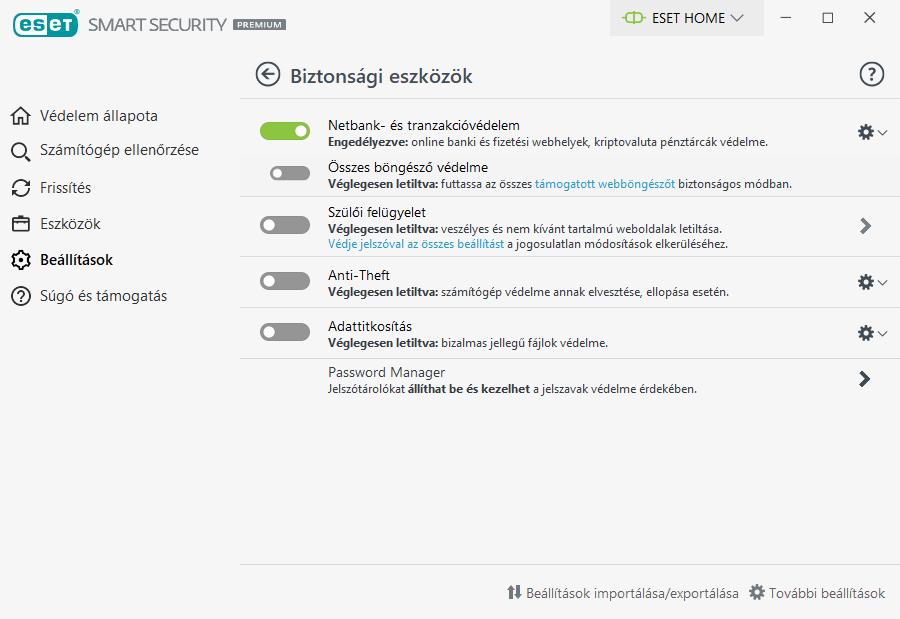 ESET Smart Security Premium - Biztonsági eszközök