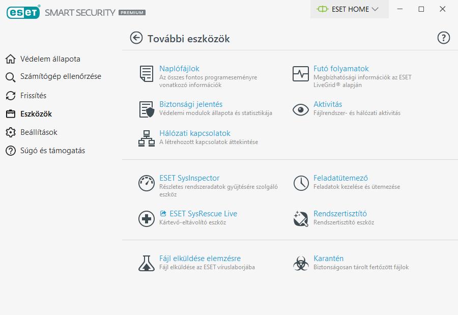 ESET Smart Security Premium - További eszközök