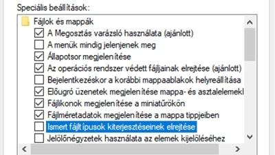Állítsa be a Windowsban a fájl kiterjesztések megjelenítését