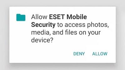ESET Mobile Security engedély kérés telepítés előtt