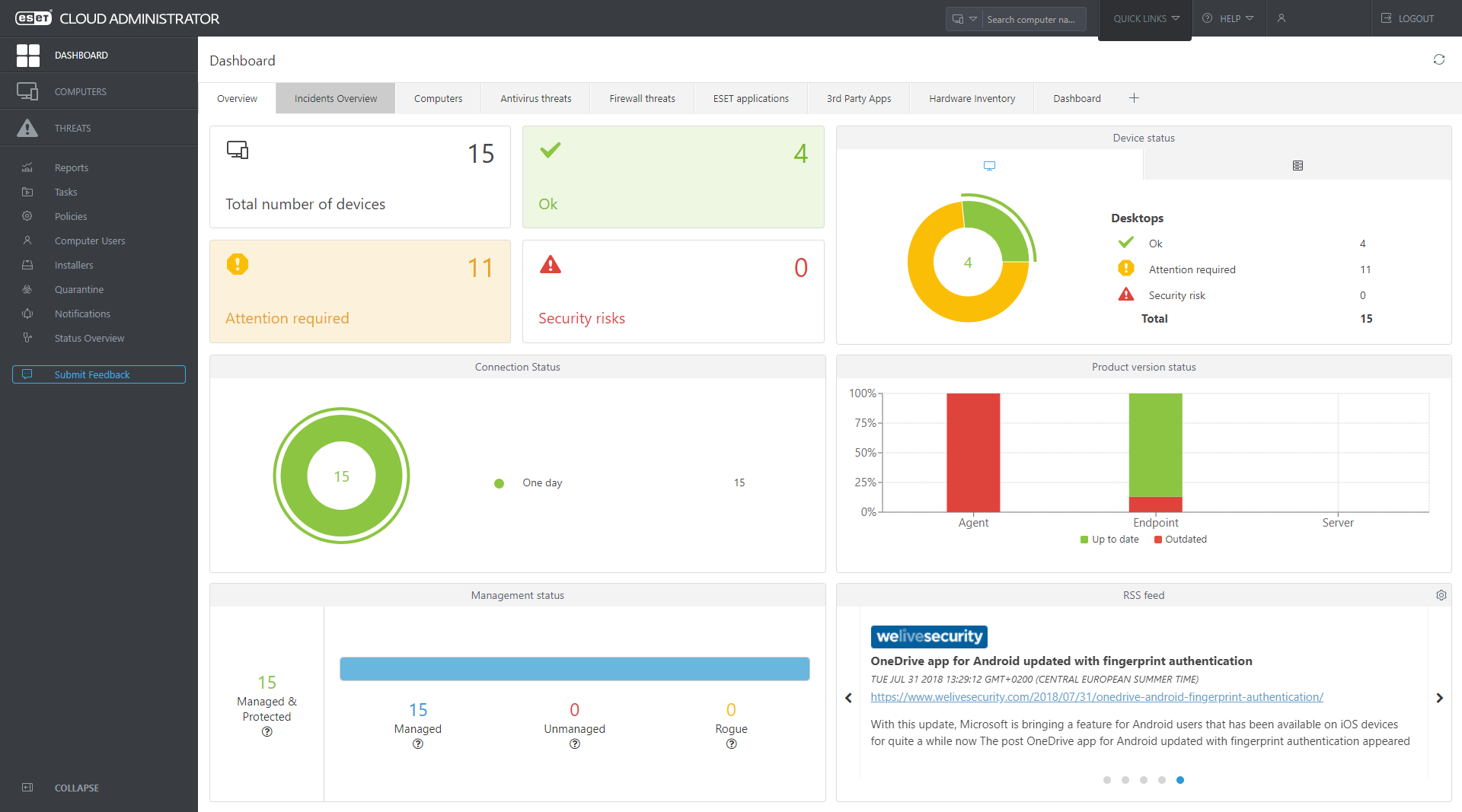ESET Cloud Administrator - Dashboard - Overview