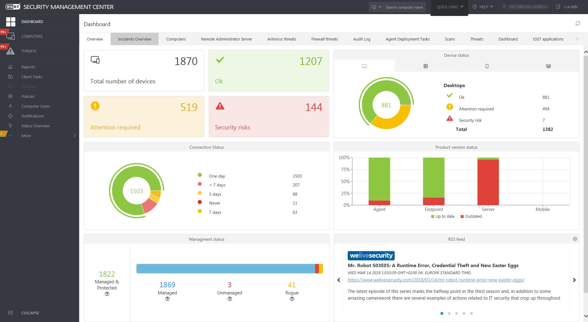 ESET Security Management Center - Dashboard/Overview