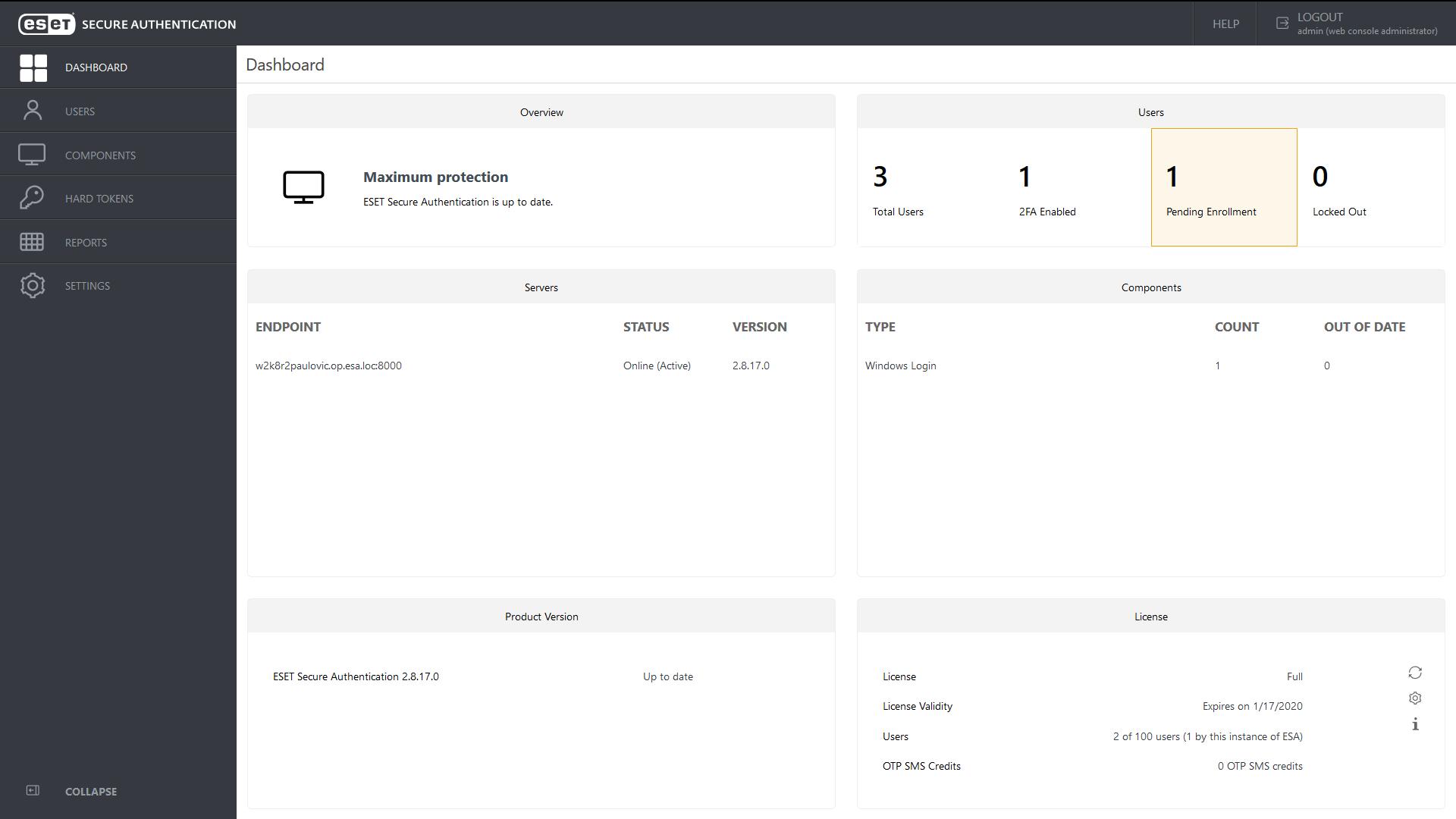 ESET Secure Autentication - Dashboard