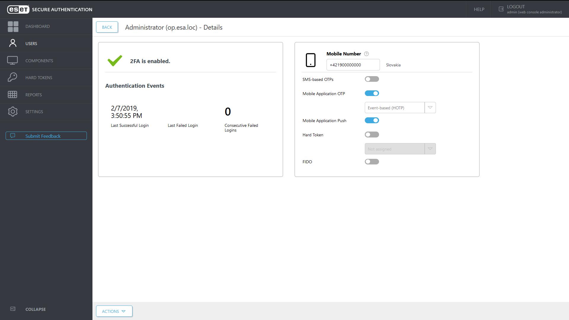 ESET Secure Autentication - Administrator details