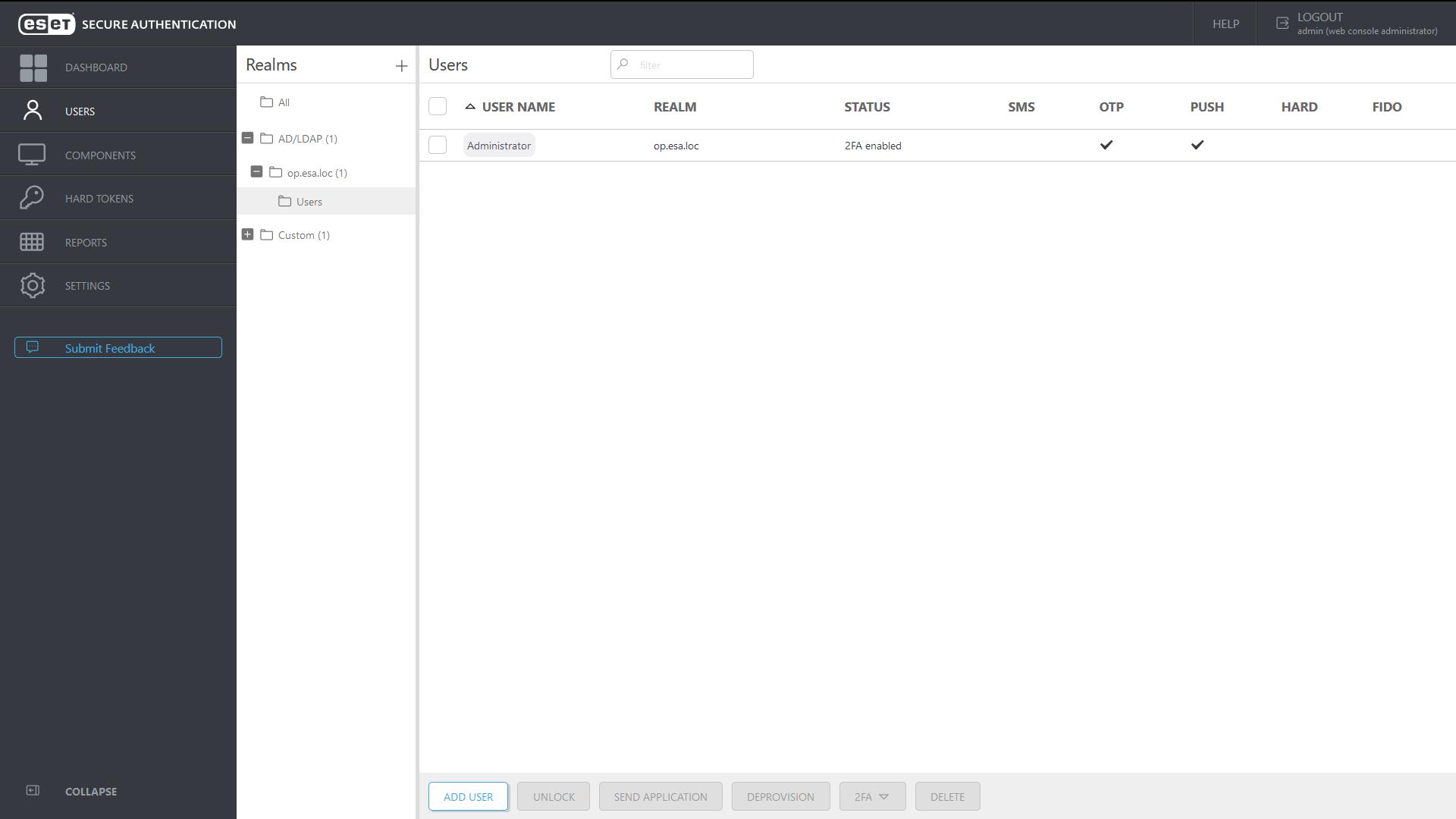 ESET Secure Autentication - Add user