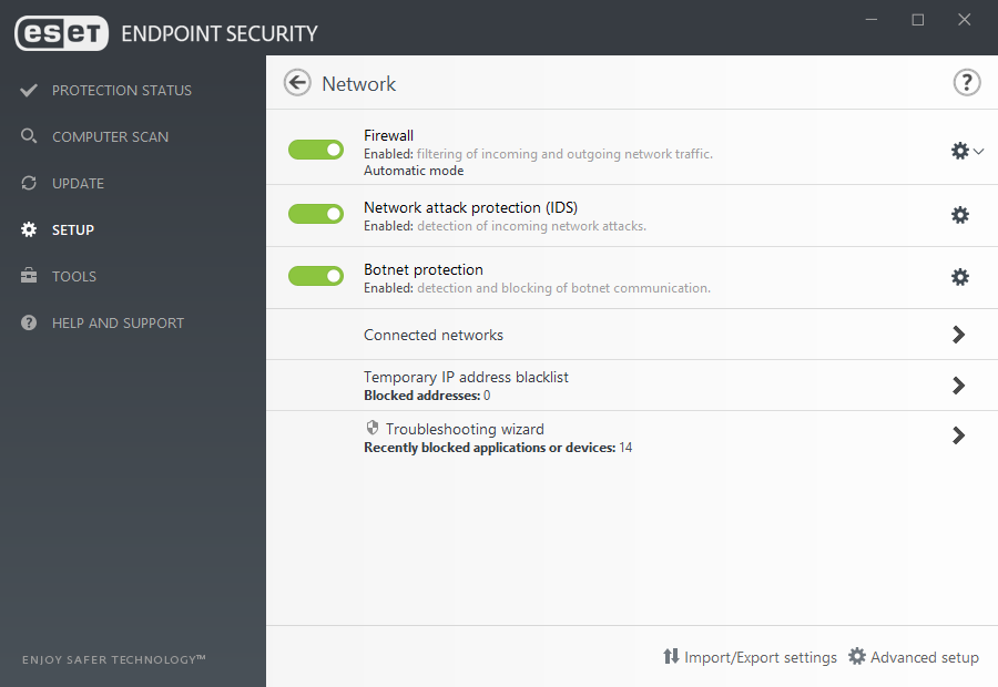 ESET Endpoint Security for Windows - Setup/Network