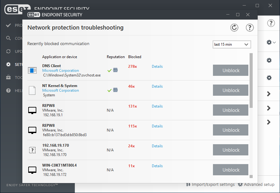 ESET Endpoint Security for Windows - Setup/Network Protection Troubleshooting
