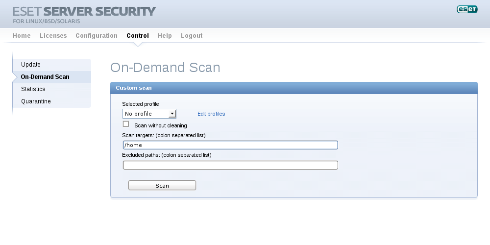 ESET Server Security for Linux/BSD/Solaris - Control/On-Demand Scan