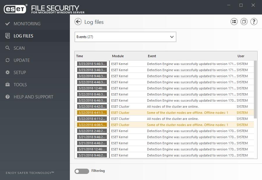 ESET File Security for Microsoft Windows Server - Log files