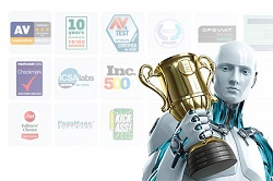 Image of ESET Android with trophy and awards logos in background