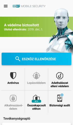 ESET Mobile Security for Android - Főképernyő