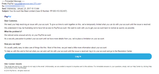 Image of a fake PayPal communication